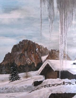 Sasso grosso Alpe di Siusi innevata