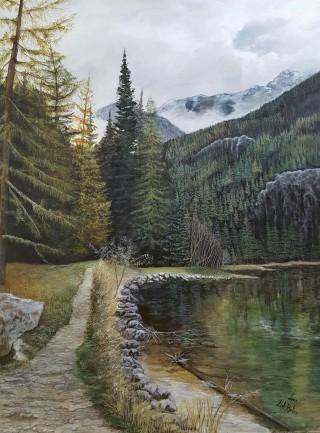 lago di Anter Selva Alto Adige uno spettacolo della natura.