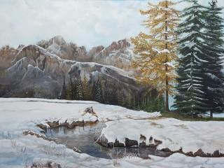 Bellezza dei monti lo stagno ghiacciato .
